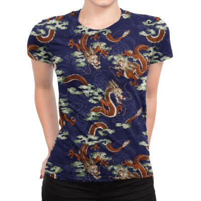 Camiseta Baby Look Feminina Dragão Chinês Estampa Total