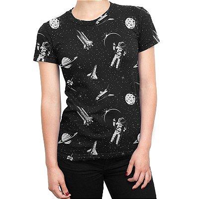 Camiseta Baby Look Feminina Espacial Astronauta Estampa Total