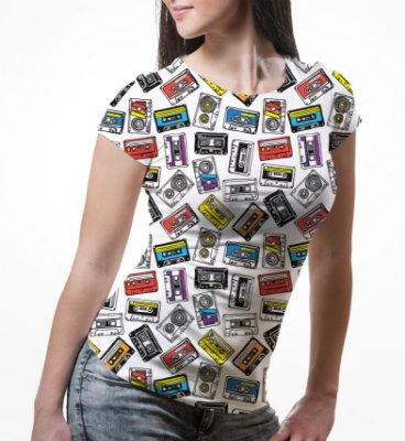 Camiseta Baby Look Feminina Fita Cassete k7 Estampa Total