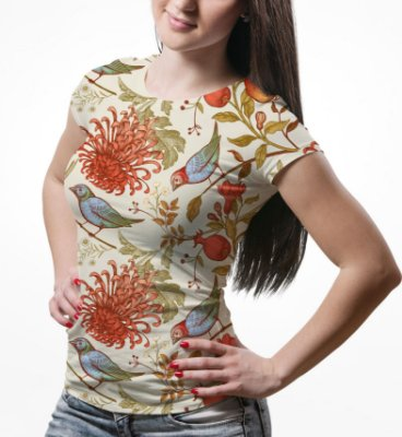 Camiseta Baby Look Feminina Flor Crisântemo e Pássaros Estampa Total