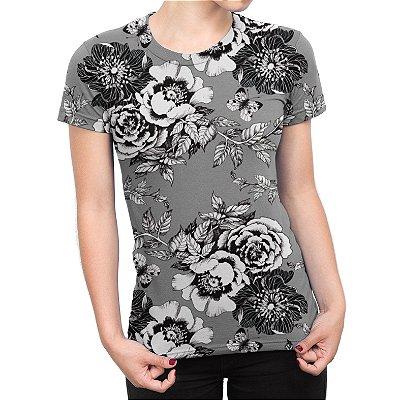 Camiseta Baby Look Feminina Flor da Ameixeira Cinza Estampa Total