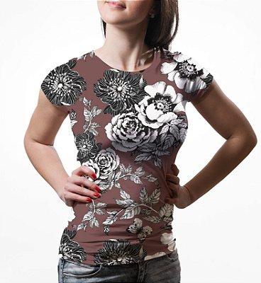 Camiseta Baby Look Feminina Flor da Ameixeira Marrom Estampa Total
