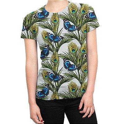 Camiseta Baby Look Feminina Floral Borboletas Estampa Total