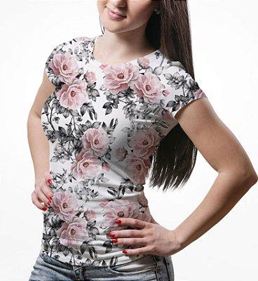 Camiseta Baby Look Feminina Floral e Folhas Estampa Total