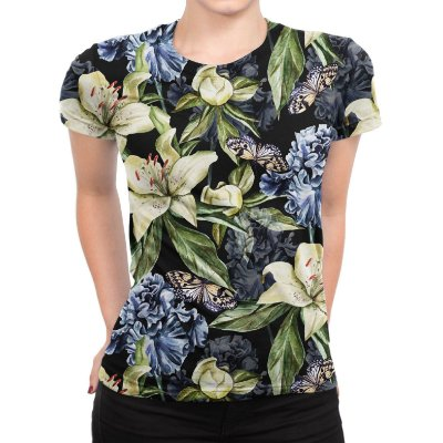 Camiseta Baby Look Feminina Floral Iris e Borboleta Estampa Total