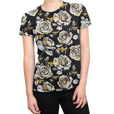 Camiseta Baby Look Feminina Floral Rosas e Abelhas Estampa Total