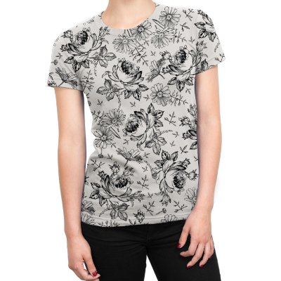 Camiseta Baby Look Feminina Flores Selvagens Estampa Total