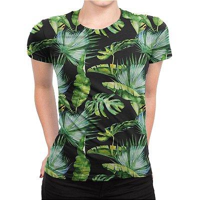 Camiseta Baby Look Feminina Flores Tropicais Estampa Total