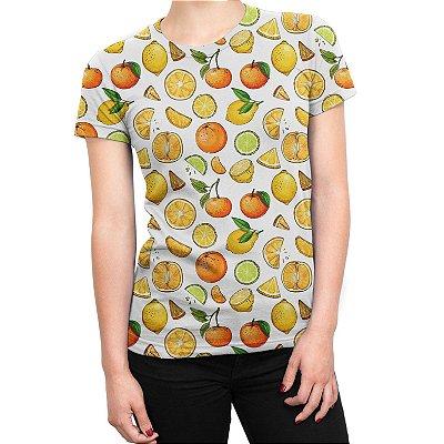 Camiseta Baby Look Feminina Frutas Cítricas Estampa Total