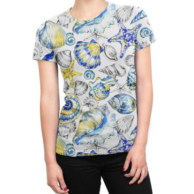 Camiseta Baby Look Feminina Fundo do Mar Vintage Estampa Total