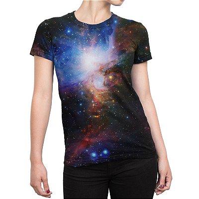 Camiseta Baby Look Feminina Galáxias Estampa Total