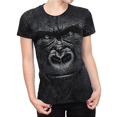 Camiseta Baby Look Feminina Gorila Estampa Total