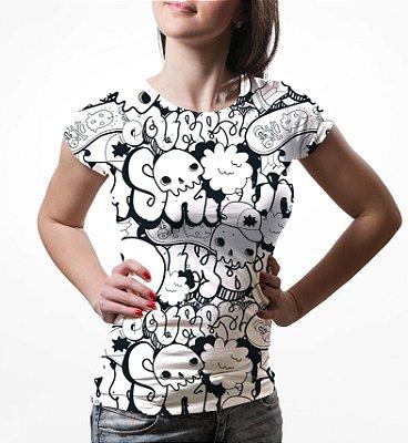 Camiseta Baby Look Feminina Grafite Caveiras Estampa Total