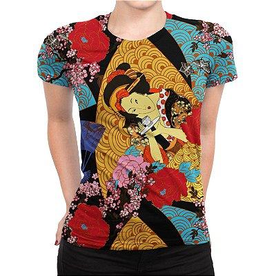 Camiseta Baby Look Feminina Gueixa Estampa Total