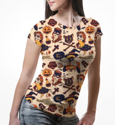 Camiseta Baby Look Feminina Halloween Estampa Total
