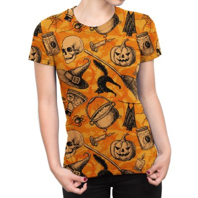 Camiseta Baby Look Feminina Halloween Abóbora Estampa Total