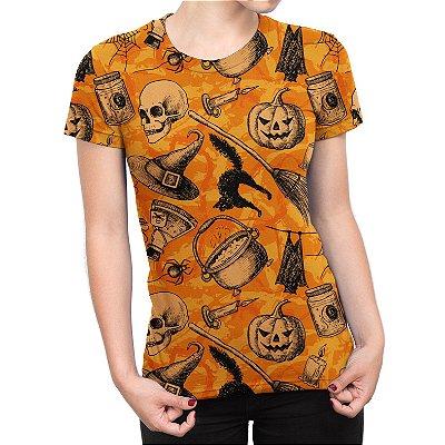 Camiseta Baby Look Feminina Halloween Abóbora Estampa Total