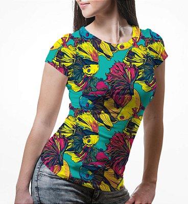 Camiseta Baby Look Feminina Peixes Beta Estampa Total