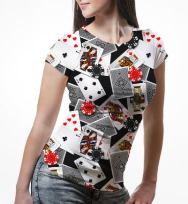 Camiseta Baby Look Feminina Poker Baralho e Fichas Estampa Total