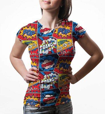 Camiseta Baby Look Feminina Retro Pop Arte Estampa Total