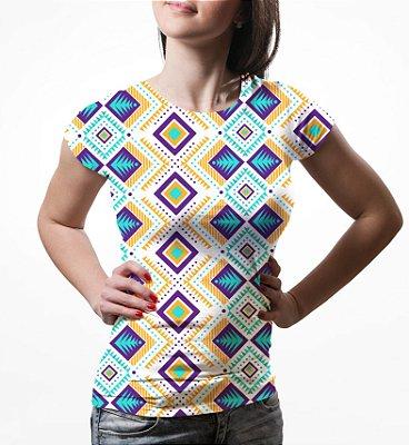 Camiseta Baby Look Feminina Tribal Asteca Estampa Total