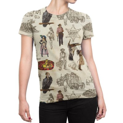Camiseta Baby Look Feminina Velho Oeste Estampa Total