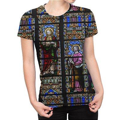 Camiseta Baby Look Feminina Vitral Igreja Estampa Total