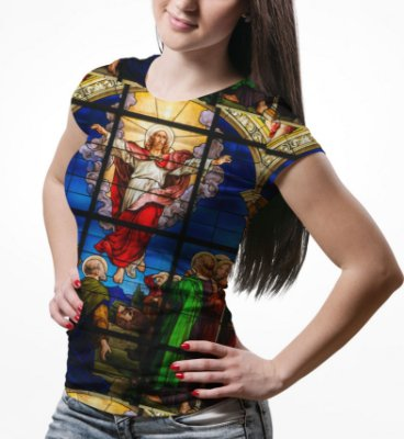 Camiseta Baby Look Feminina Vitral Jesus Estampa Total