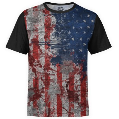 Camiseta masculina Bandeira EUA Estampa Digital md01