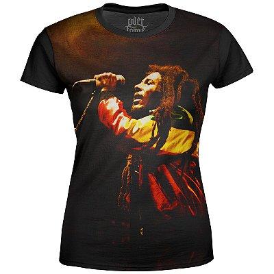 Camiseta Baby Look Feminina Bob Marley Estampa Digital md01