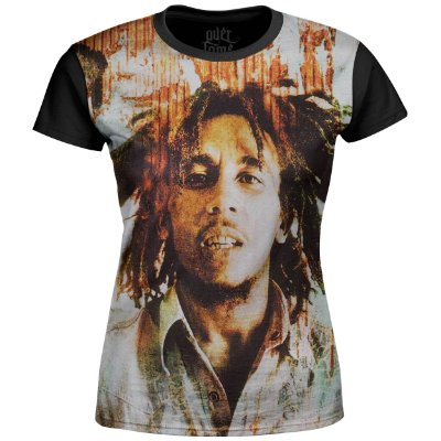 Camiseta Baby Look Feminina Bob Marley Estampa Digital md02