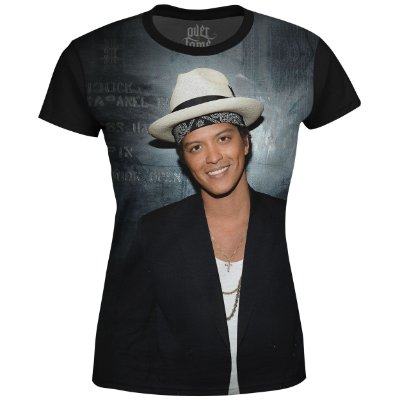 Camiseta Baby Look Feminina Bruno Mars Estampa Digital md03