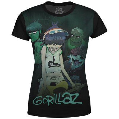 Camiseta Baby Look Feminina Gorillaz Estampa digital md01