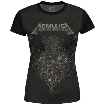 Camiseta Baby Look Feminina Metallica Estampa digital md02