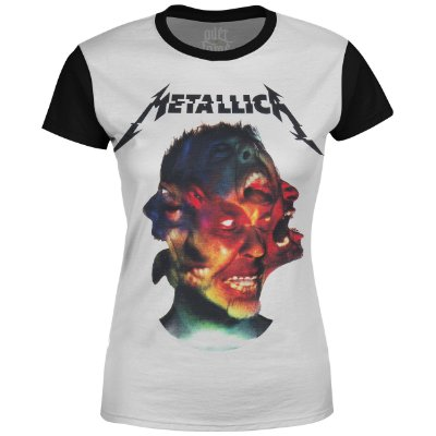 Camiseta Baby Look Feminina Metallica Estampa digital md03