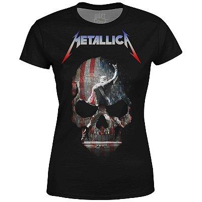 Camiseta Baby Look Feminina Metallica Estampa digital md05