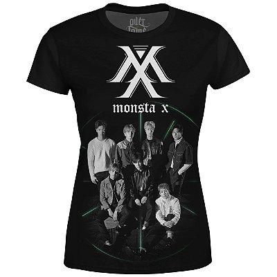 Camiseta Baby Look Feminina Monsta X Estampa digital md01