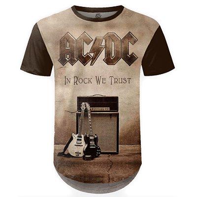 Camiseta Masculina Longline AC/DC Estampa Digital md04