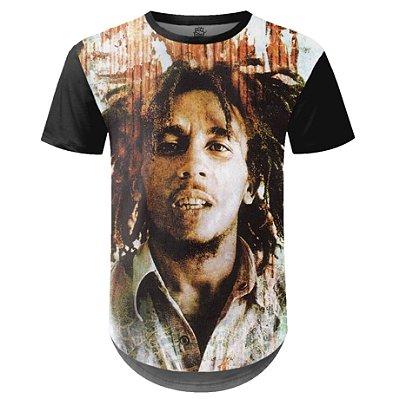 Camiseta Masculina Longline Bob Marley Estampa Digital md02