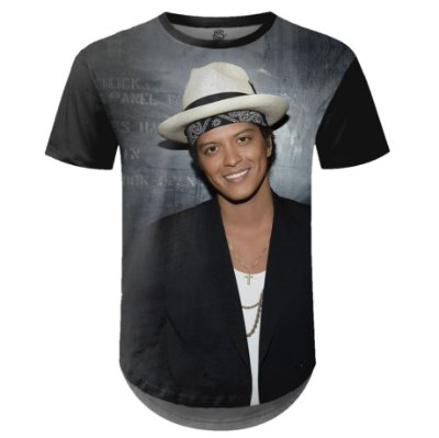 Camiseta Masculina Longline Bruno Mars Estampa Digital md03