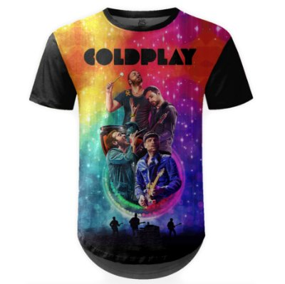 Camiseta Masculina Longline Coldplay Estampa digital md01