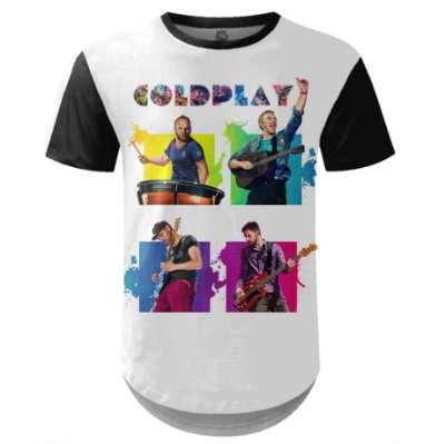 Camiseta Masculina Longline Coldplay Estampa digital md02