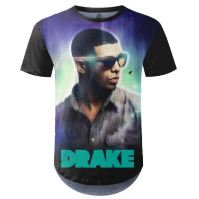 Camiseta Masculina Longline Drake Estampa digital md02