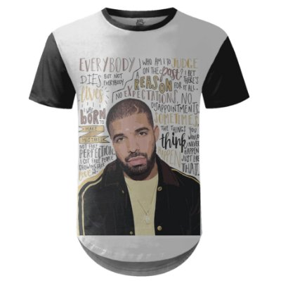 Camiseta Masculina Longline Drake Estampa digital md05