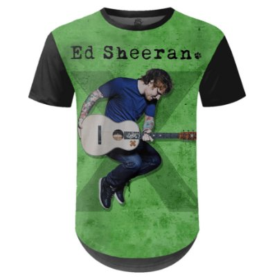 Camiseta Masculina Longline Ed Sheeran Estampa digital md02