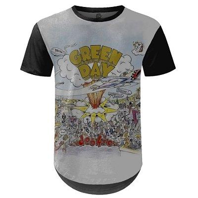 Camiseta Masculina Longline Green Day Estampa digital md01