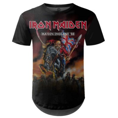 Camiseta Masculina Longline Iron Maiden Estampa digital md02