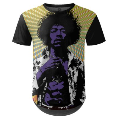 Camiseta Masculina Longline Jimi Hendrix md01