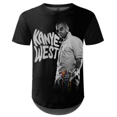 Camiseta Masculina Longline Kanye West Estampa digital md01