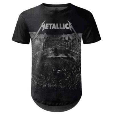 Camiseta Masculina Longline Metallica Estampa digital md04